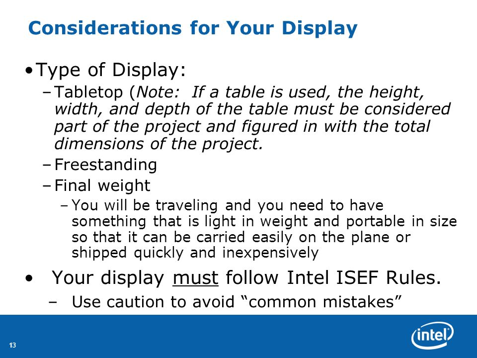 Considerations for Your Display