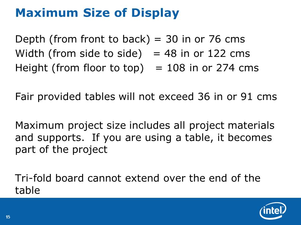 Maximum Size of Display