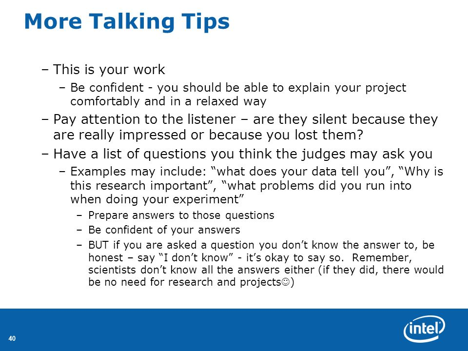 More Talking Tips This is your work