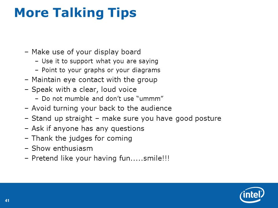 More Talking Tips Make use of your display board