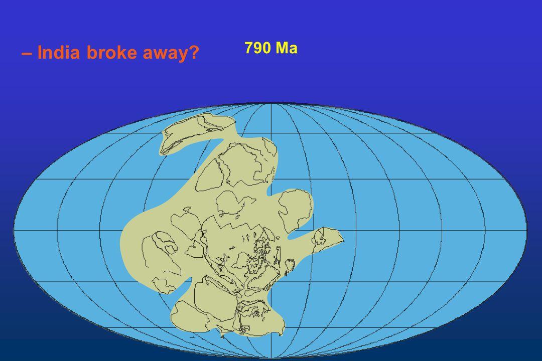 – India broke away 790 Ma