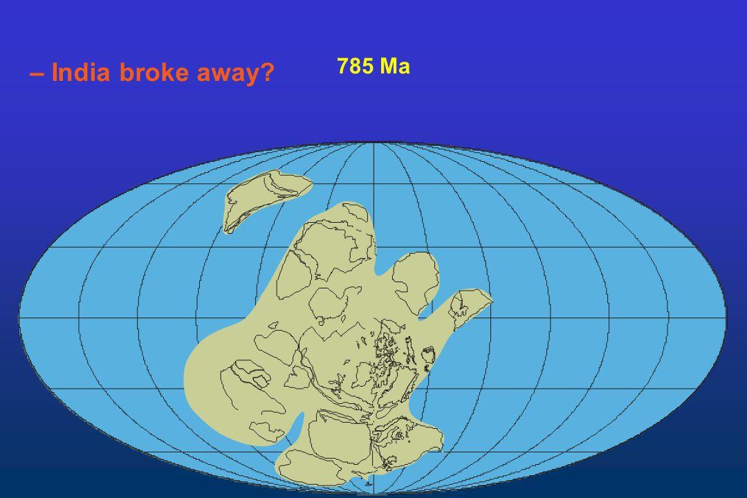 – India broke away 785 Ma