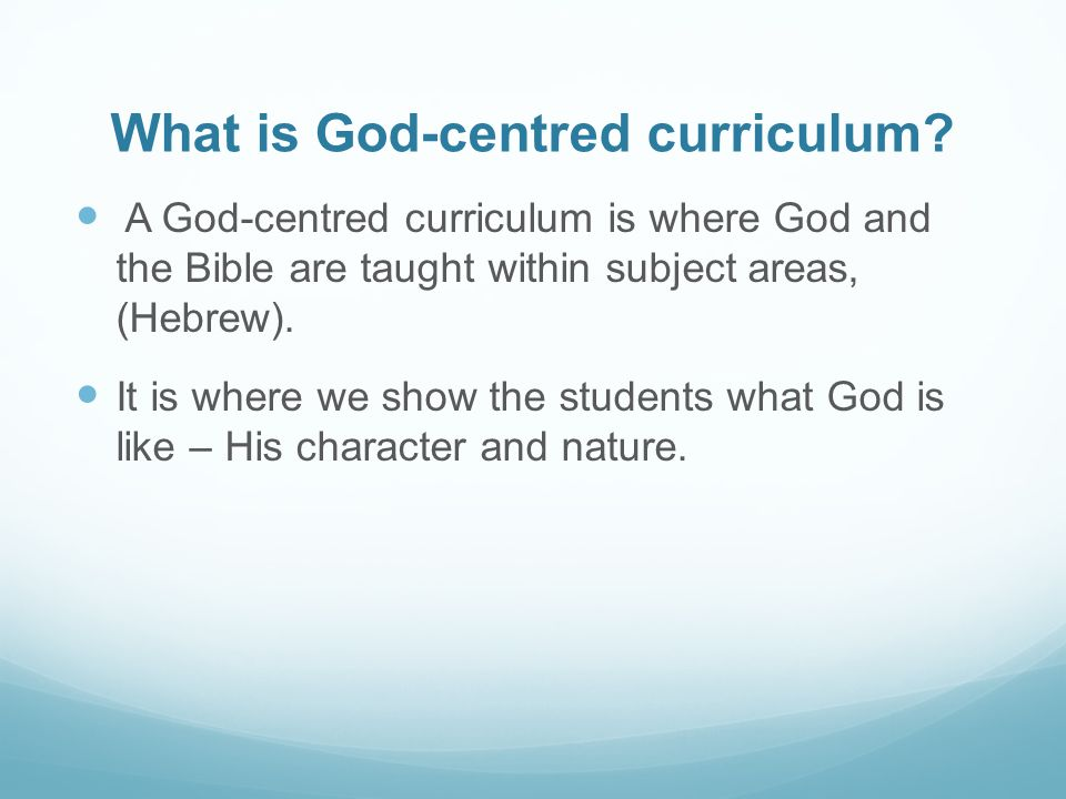 What is God-centred curriculum