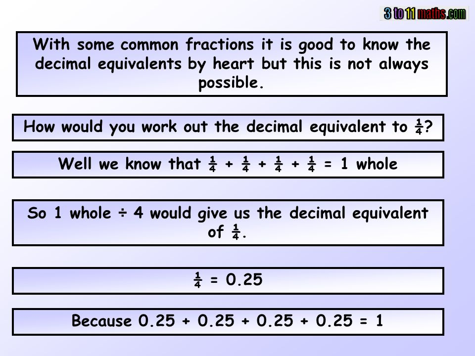 How would you work out the decimal equivalent to ¼