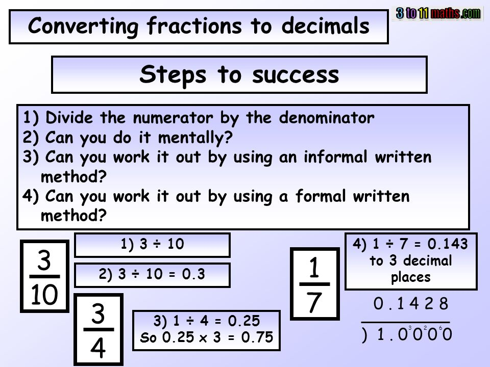 writing decimals as fractions or mixed numbers How do you write a decimal as a fraction a: quick answer to turn a fraction into a mixed number, you must divide the fraction's numerator by its denominator.