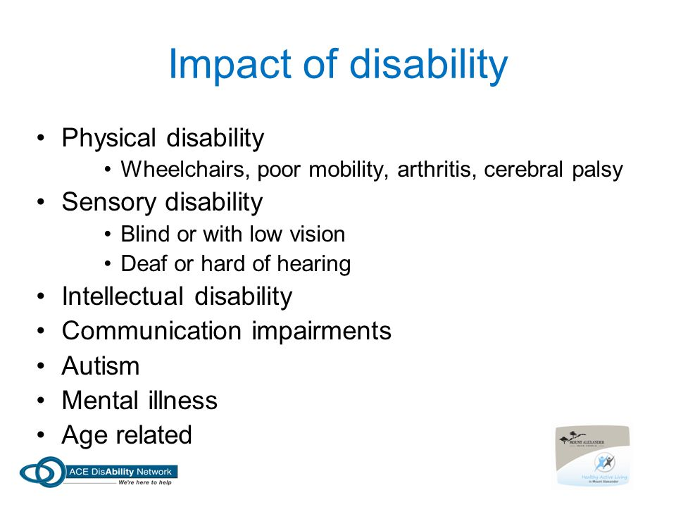 Impact of disability Physical disability Sensory disability