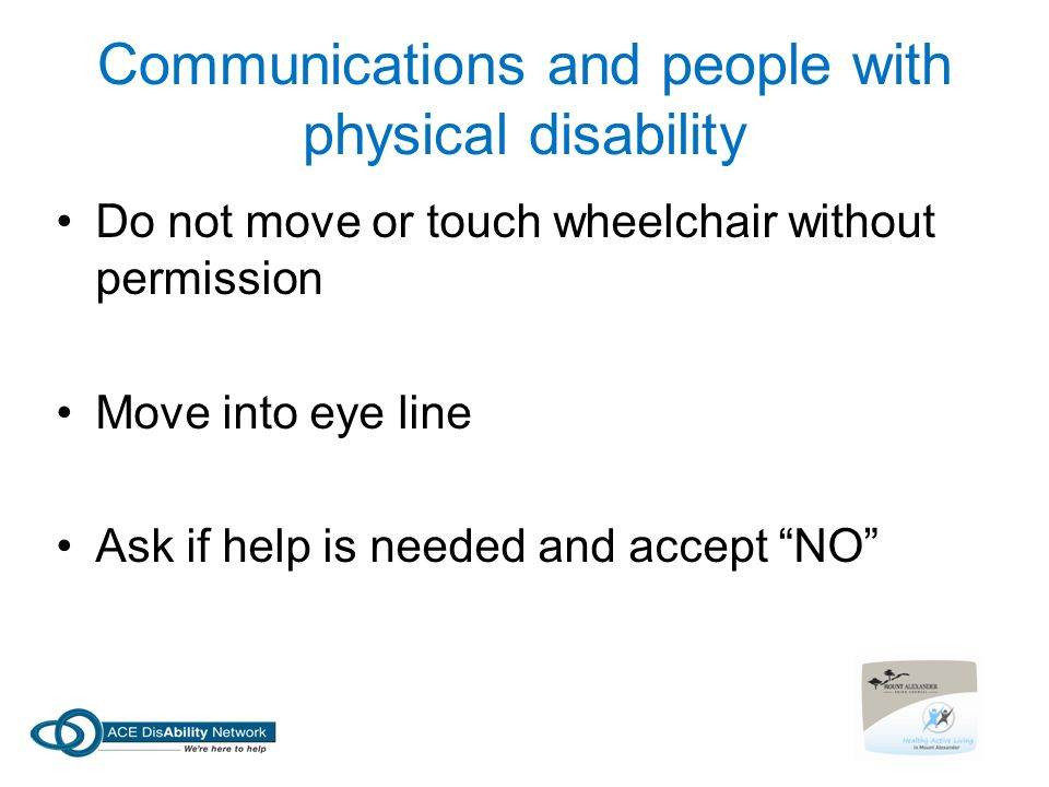 Communications and people with physical disability