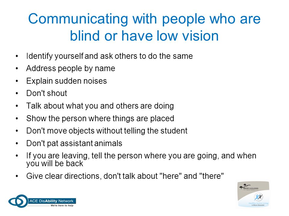 Communicating with people who are blind or have low vision
