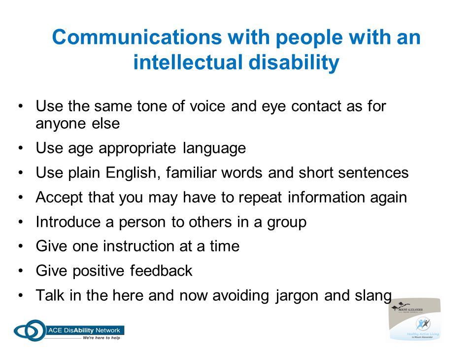 Communications with people with an intellectual disability
