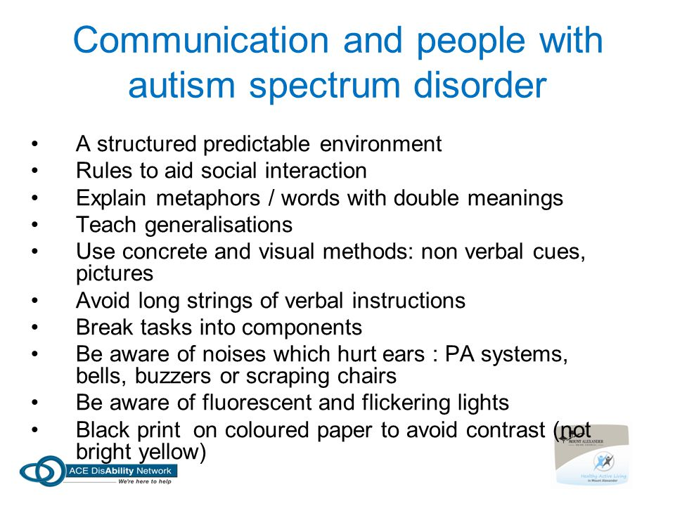 Communication and people with autism spectrum disorder