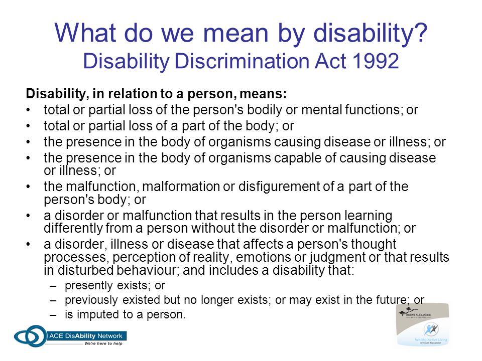 What do we mean by disability Disability Discrimination Act 1992