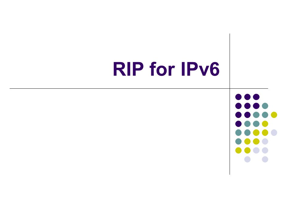 RIP for IPv6