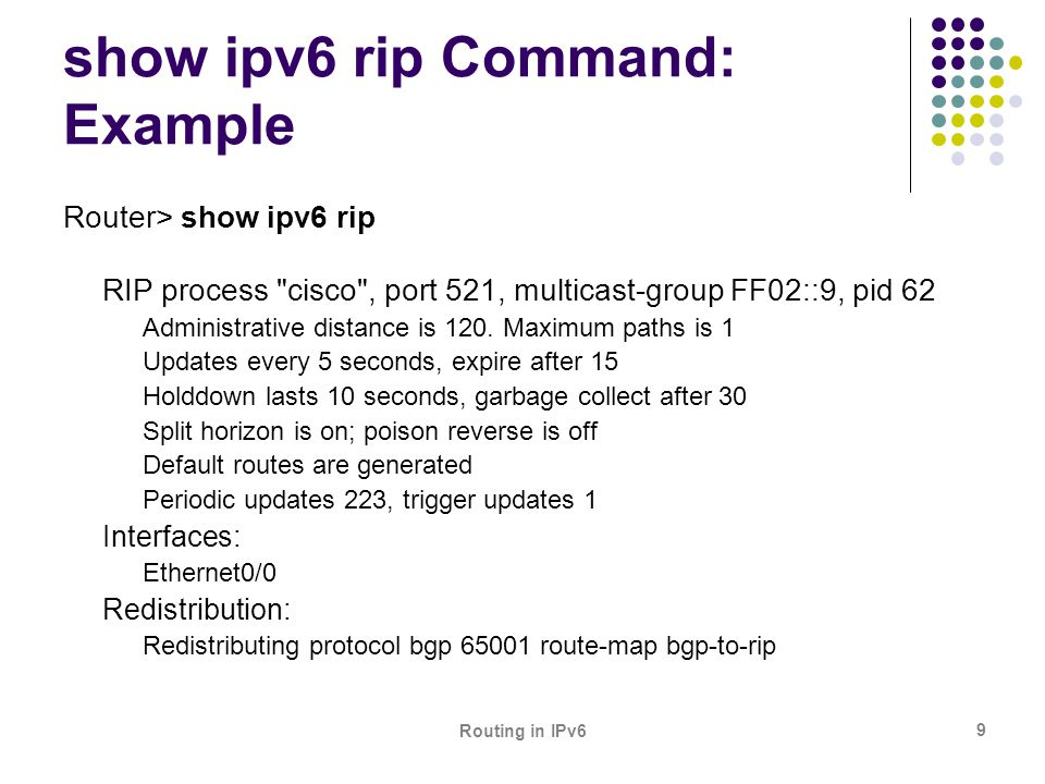 show ipv6 rip Command: Example