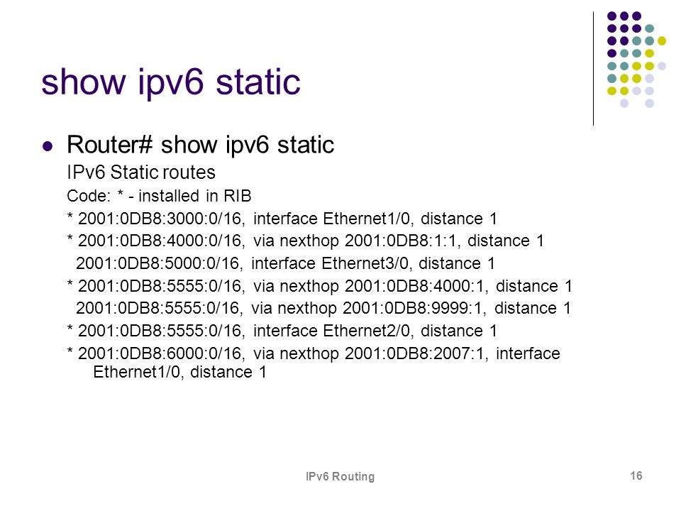show ipv6 static Router# show ipv6 static IPv6 Static routes