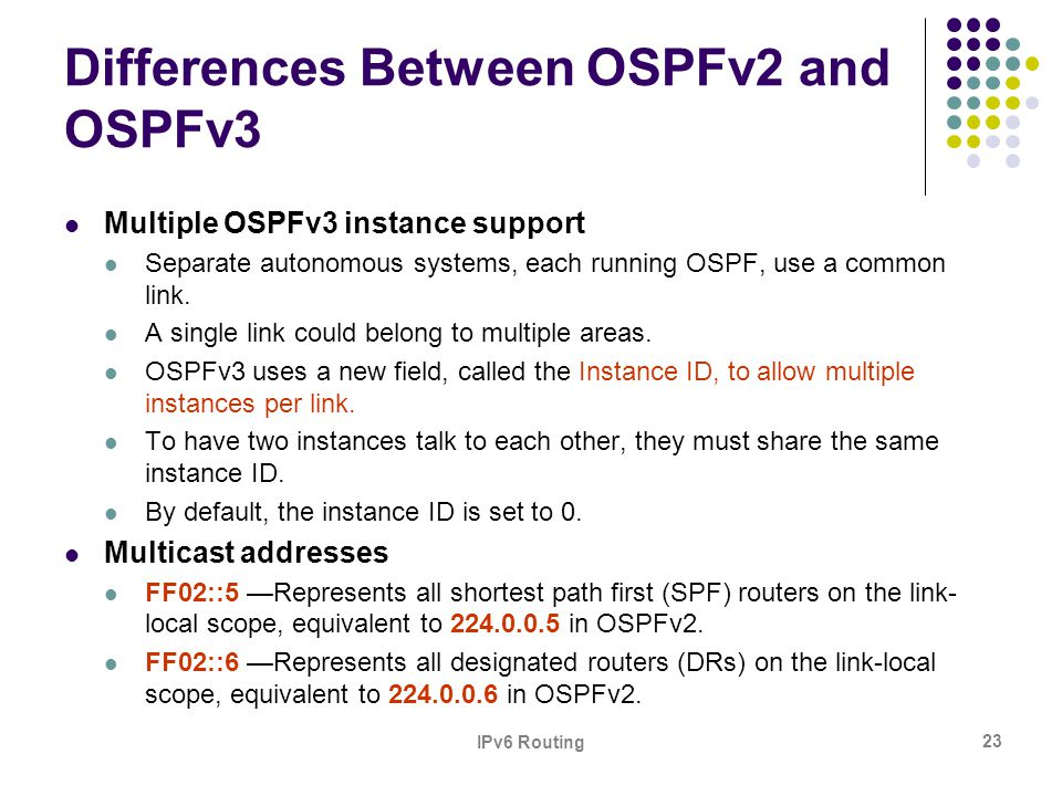 Differences Between OSPFv2 and OSPFv3