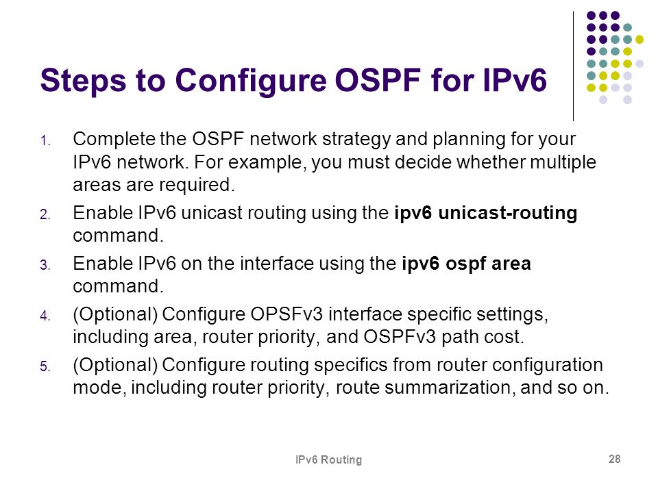 Steps to Configure OSPF for IPv6