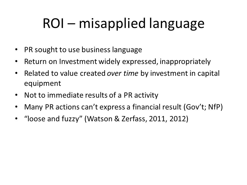 ROI – misapplied language