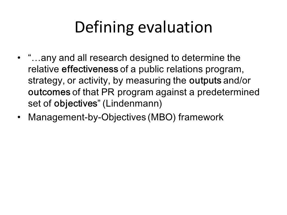 Defining evaluation
