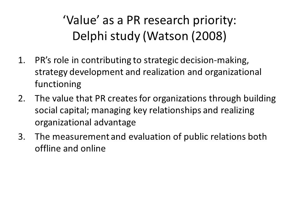 'Value' as a PR research priority: Delphi study (Watson (2008)