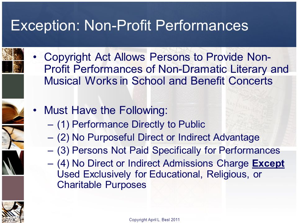 Exception: Non-Profit Performances