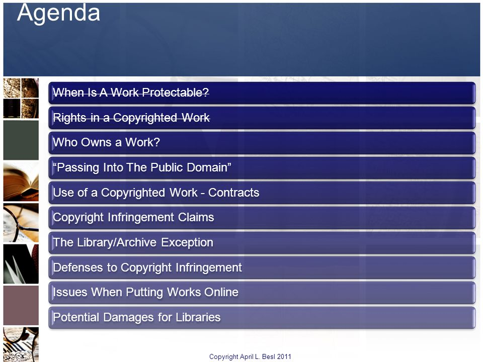 Agenda Copyright April L. Besl 2011 When Is A Work Protectable