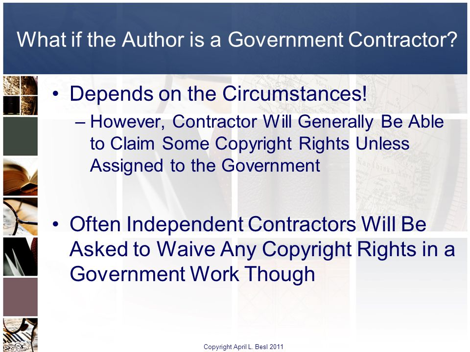 What if the Author is a Government Contractor