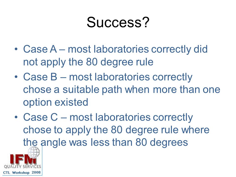 Success Case A – most laboratories correctly did not apply the 80 degree rule.