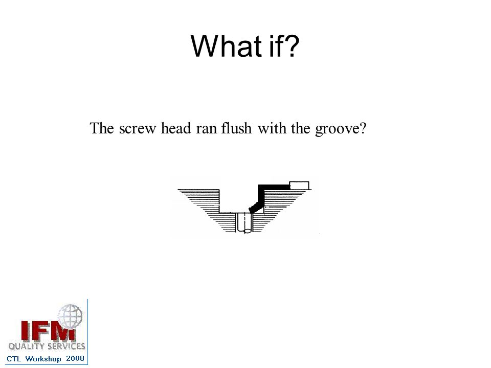 What if The screw head ran flush with the groove