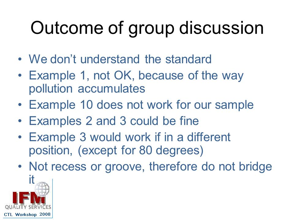 Outcome of group discussion