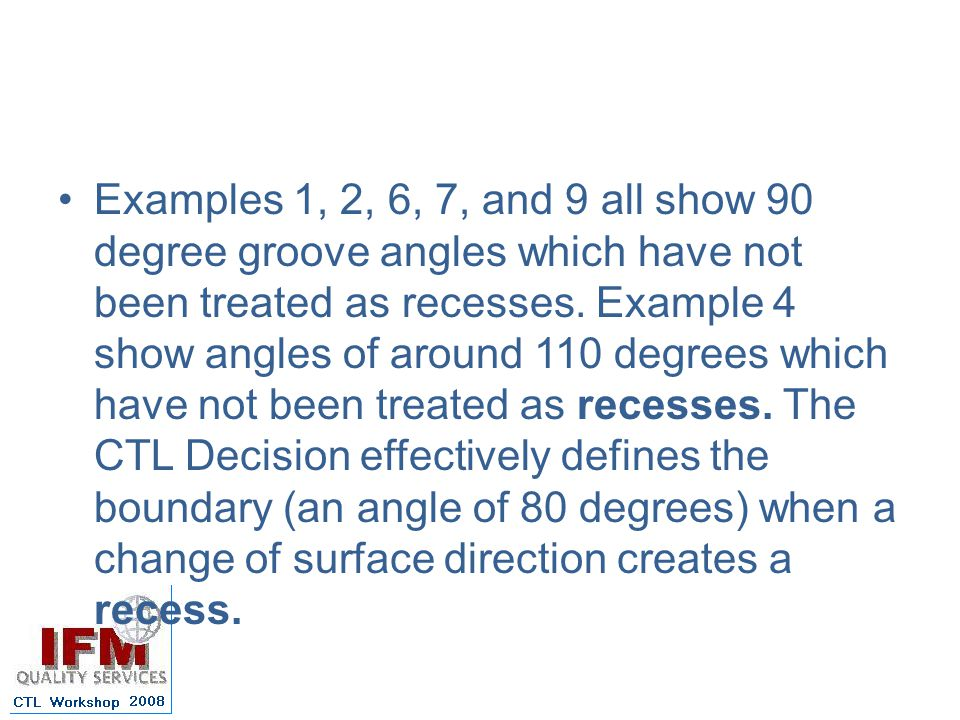 Examples 1, 2, 6, 7, and 9 all show 90 degree groove angles which have not been treated as recesses.