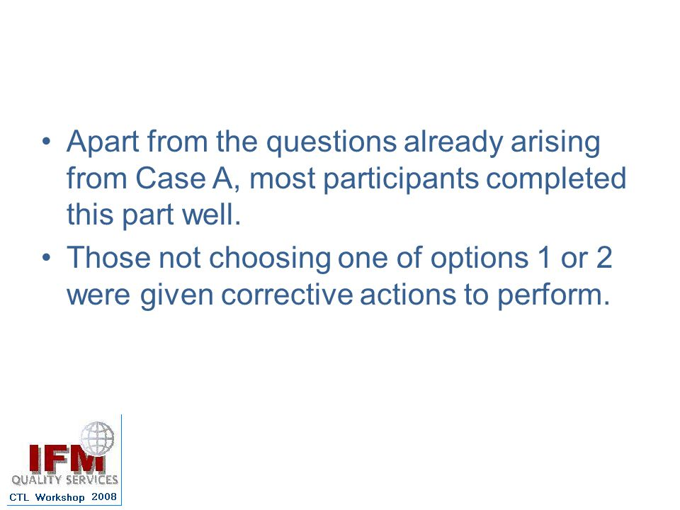 Apart from the questions already arising from Case A, most participants completed this part well.