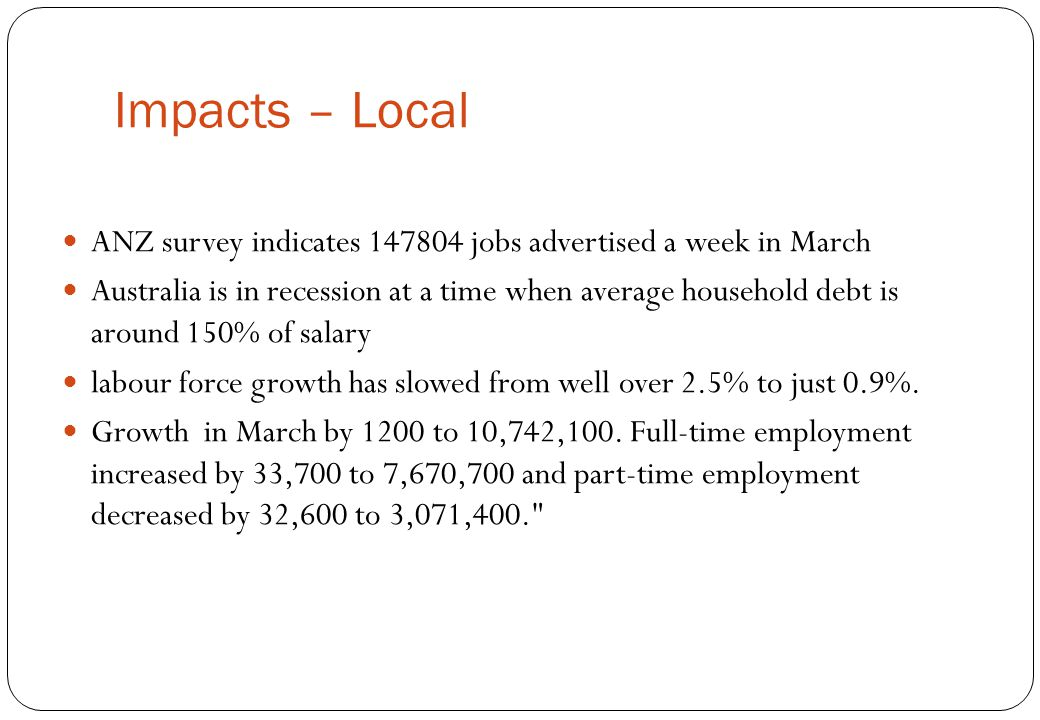 Impacts – Local ANZ survey indicates 147804 jobs advertised a week in March.