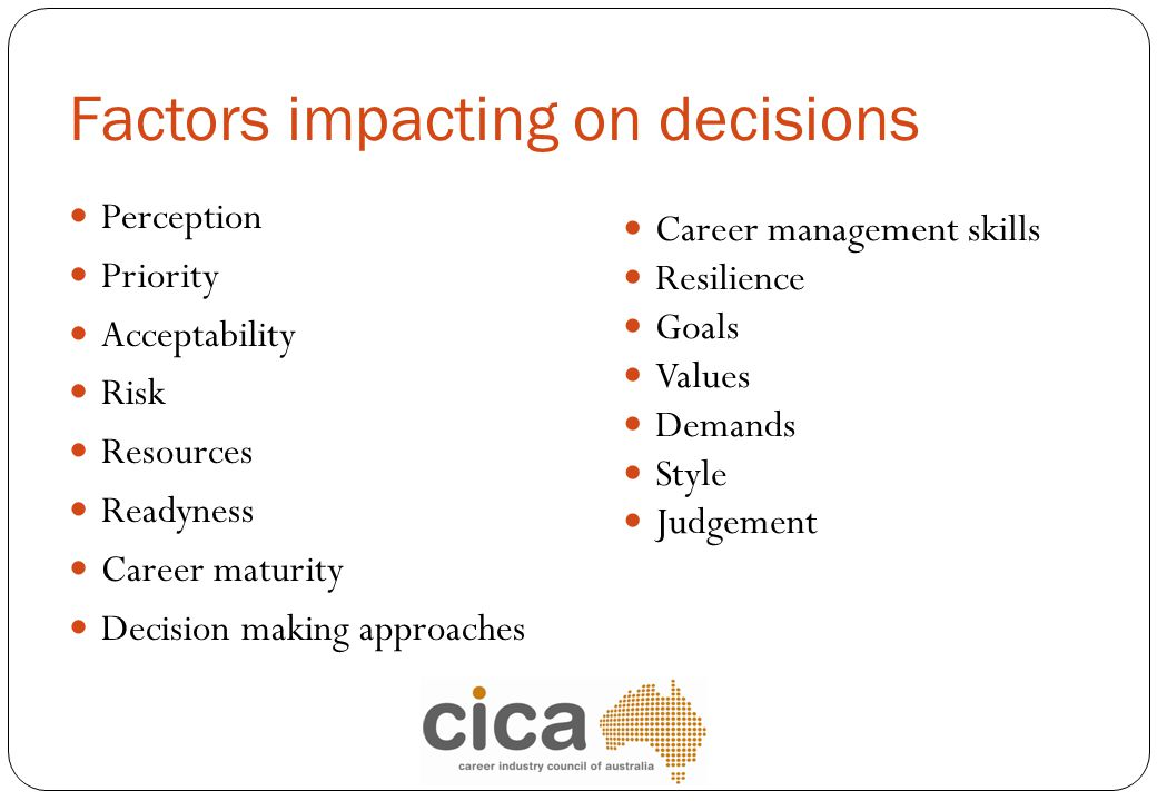Factors impacting on decisions