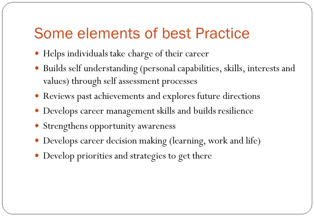 Some elements of best Practice