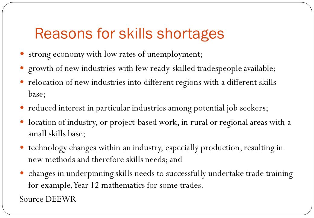 Reasons for skills shortages