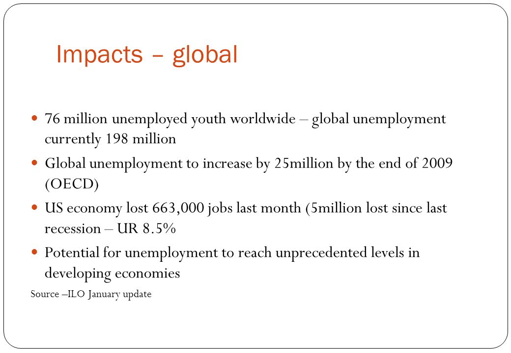 Impacts – global 76 million unemployed youth worldwide – global unemployment currently 198 million.