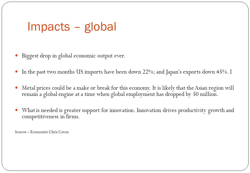 Impacts – global Biggest drop in global economic output ever.