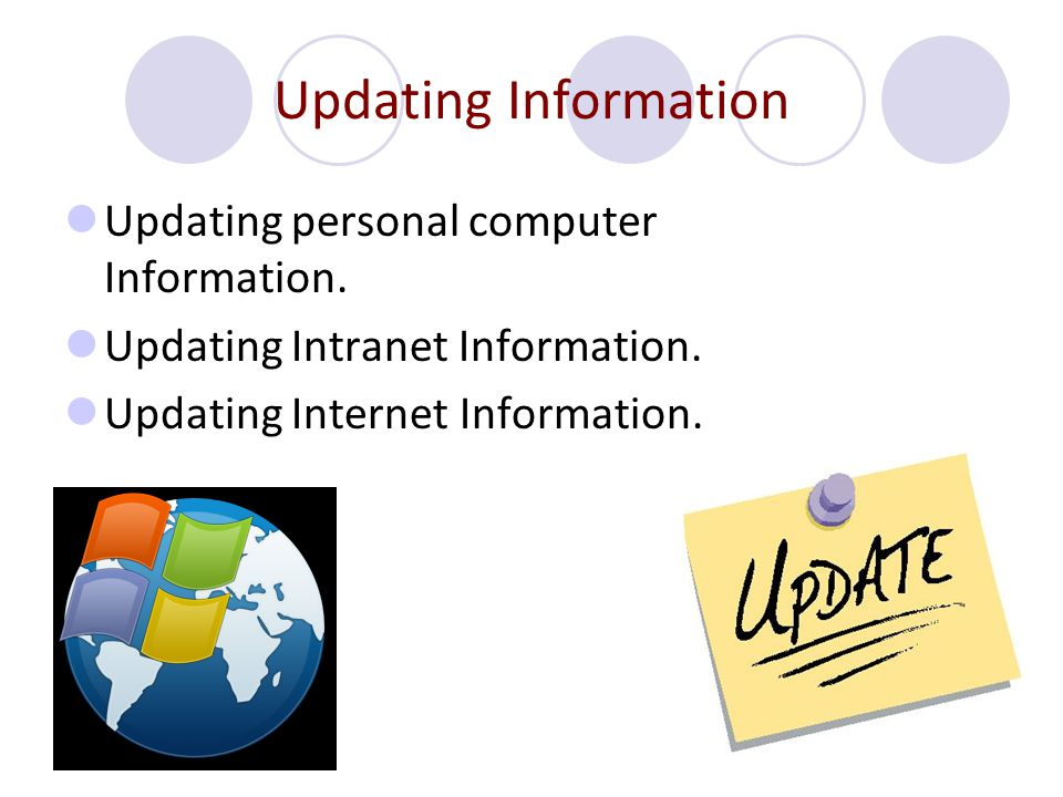 Updating Information Updating personal computer Information.