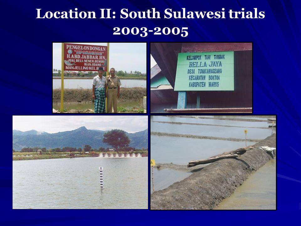 Location II: South Sulawesi trials 2003-2005