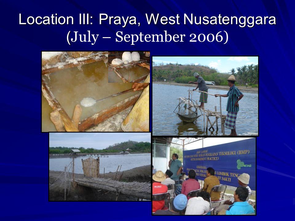Location III: Praya, West Nusatenggara (July – September 2006)