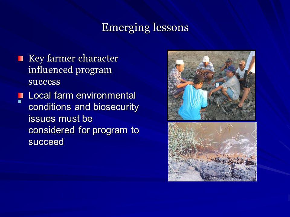 Emerging lessons Key farmer character influenced program success