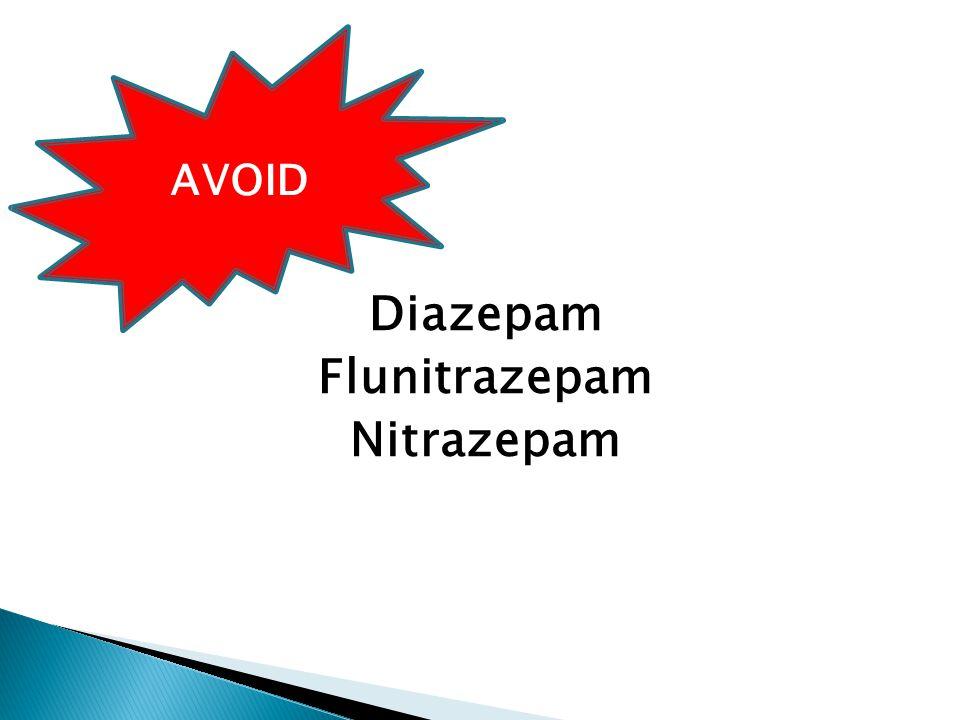 Diazepam Flunitrazepam Nitrazepam