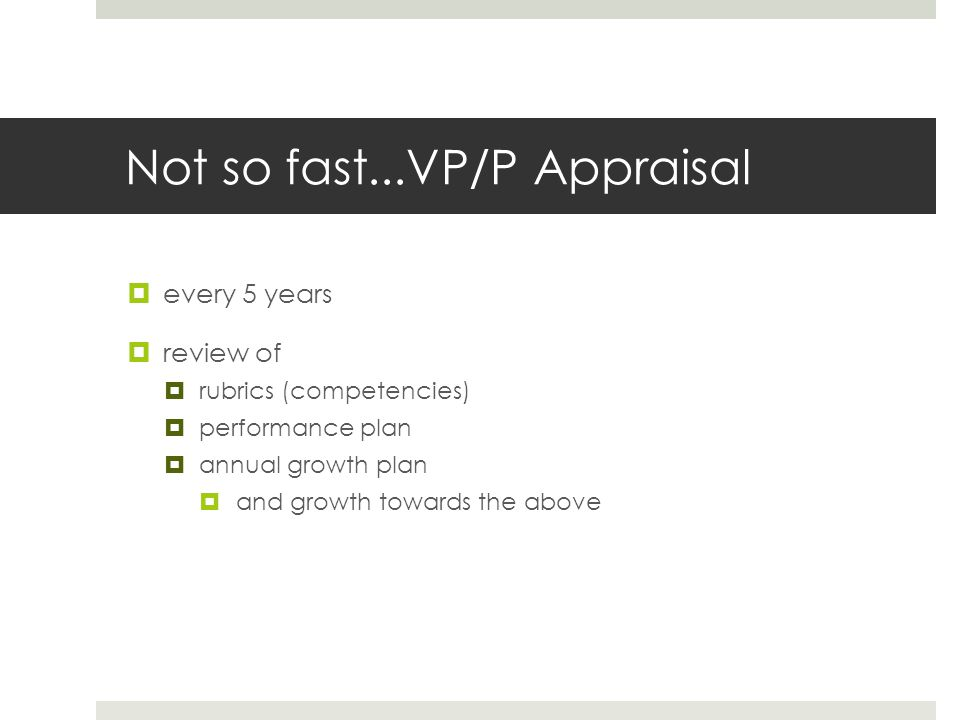 Not so fast...VP/P Appraisal