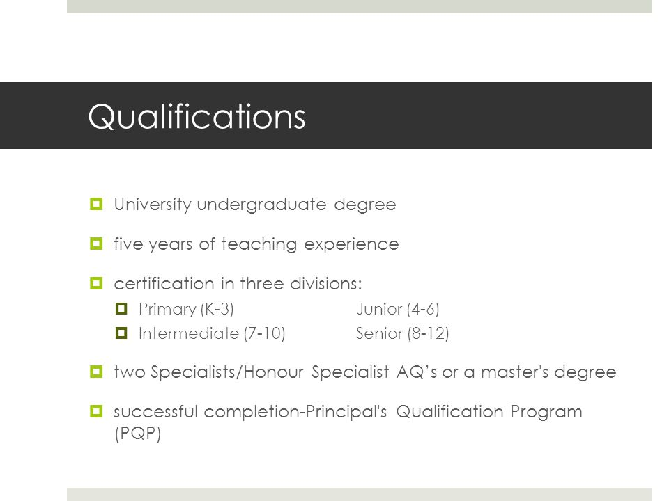 Qualifications University undergraduate degree