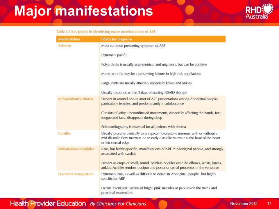 Major manifestations