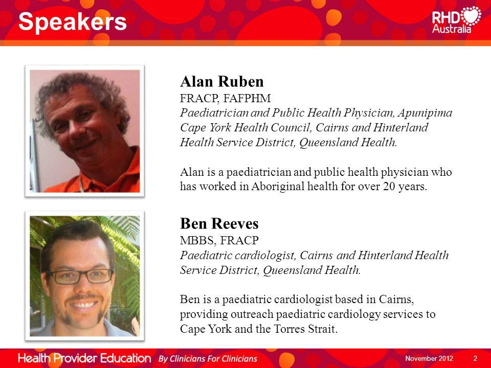Speakers Alan Ruben FRACP, FAFPHM