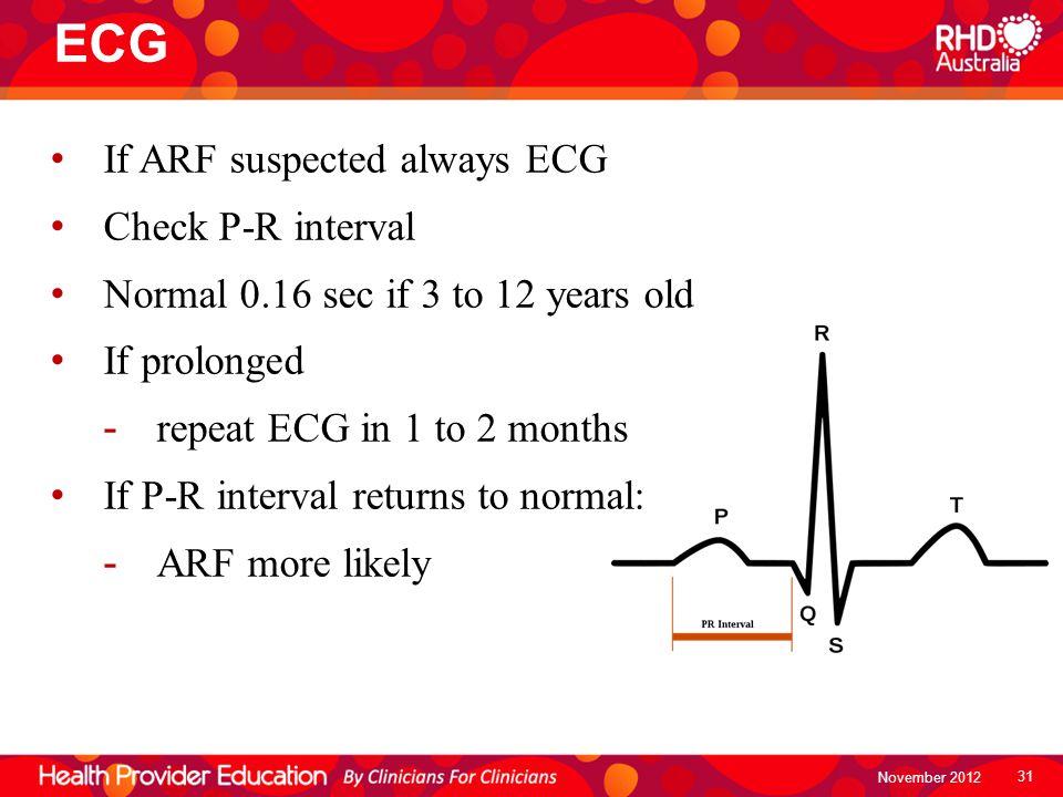 ECG If ARF suspected always ECG Check P-R interval
