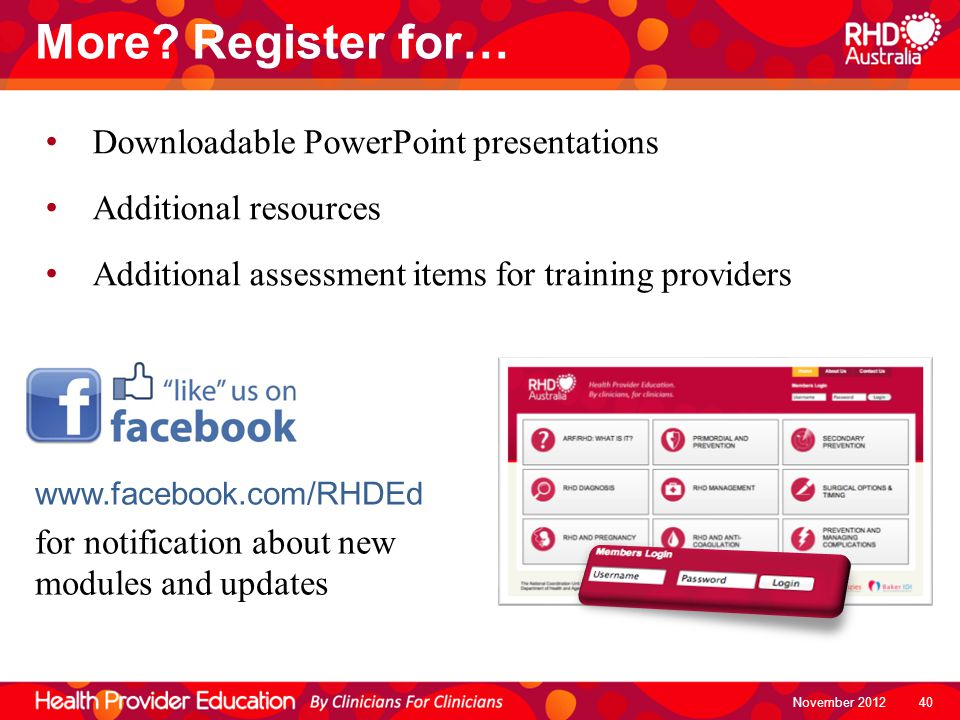 More Register for… Downloadable PowerPoint presentations