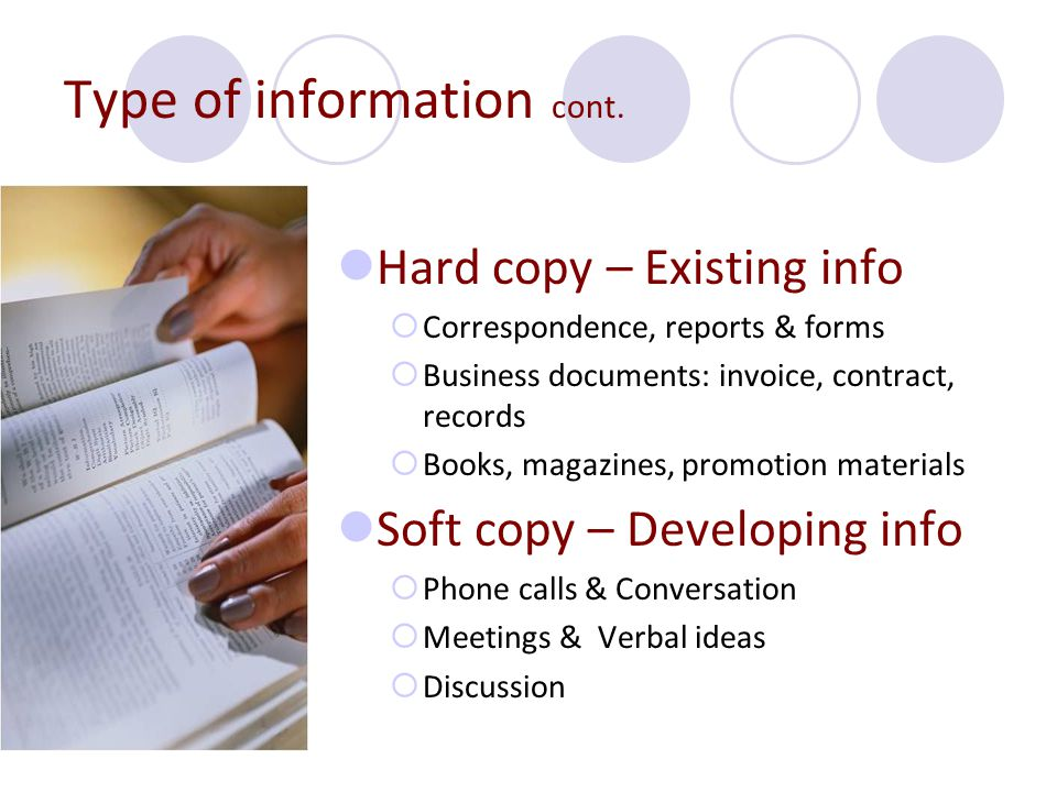 Type of information cont.
