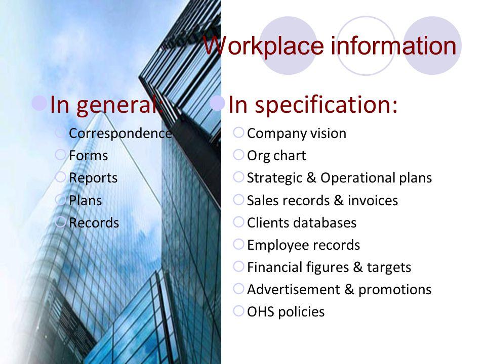Workplace information